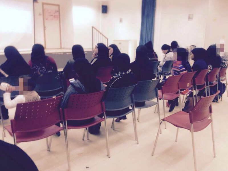 The lecture on domestic violence fore a group of an Afterschool Centers' mothers